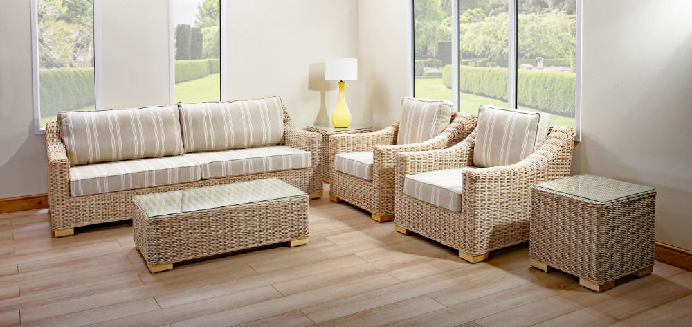 Chambray 3 seat rattan sofa set