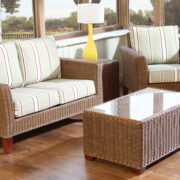 Bisque rattan sofa set
