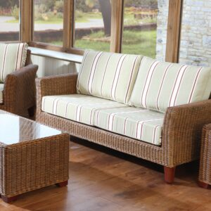 Bisque cognac rattan sofa set