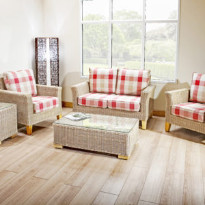 bisque 2 seat rattan almond set