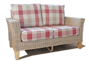 bisque 2 seat rattan sofa