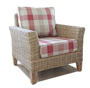Bisque rattan arm chair