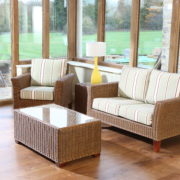 Bisque rattan 2 seat sofa set